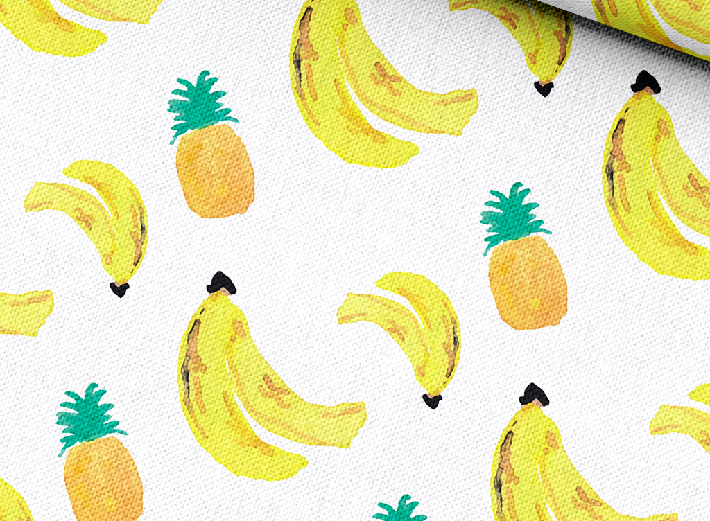 手绘水果背景图案香蕉菠萝