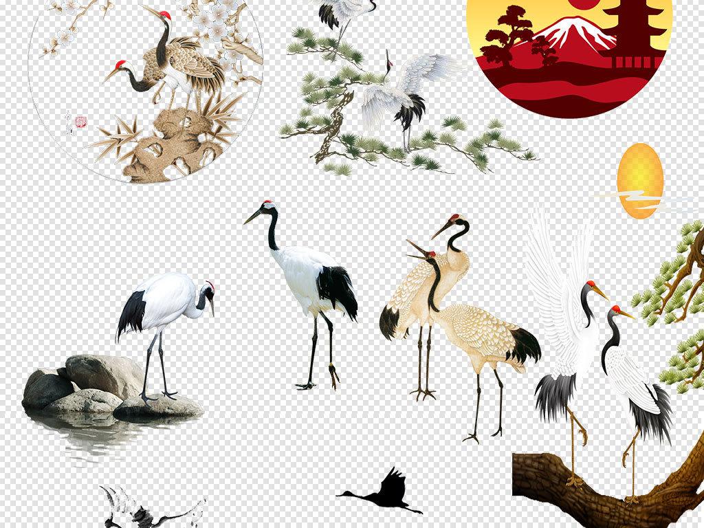 中国风古风水墨仙鹤动物png素材大全