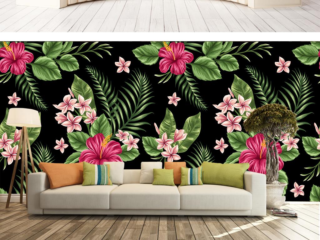 手绘高清植物花卉高档壁画东南亚风格背景墙
