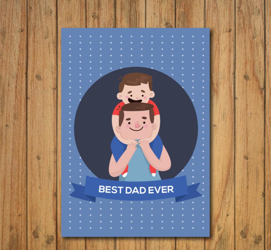 手绘卡通父子父亲节贺卡海报