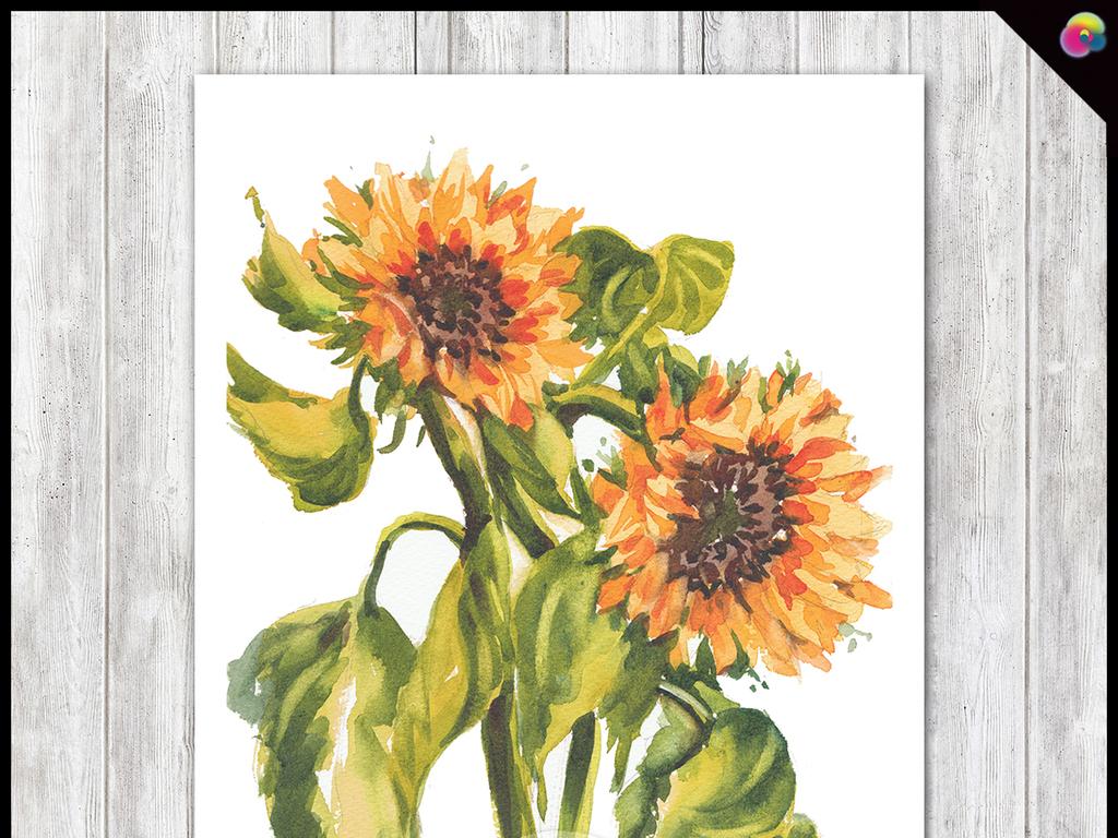 手绘向日葵油画背景墙装饰画