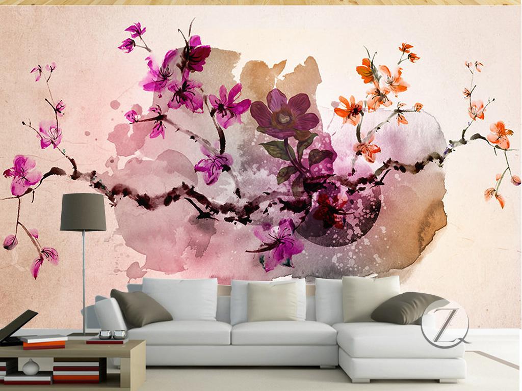 简约创意手绘水彩花卉抽象艺术背景墙