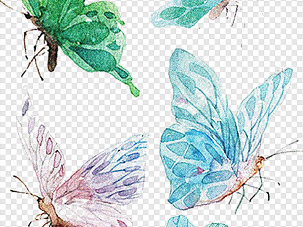 蓝色蝴蝶手绘梦幻蓝色蝴蝶