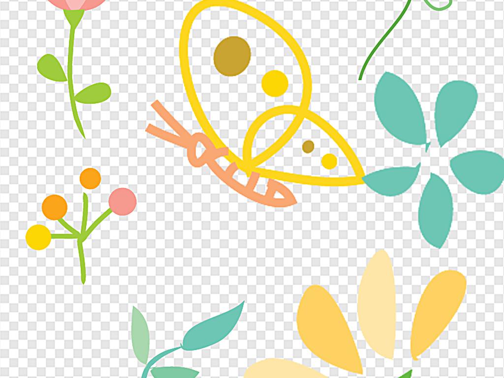 小清新花卡通小花手绘小花白色小花