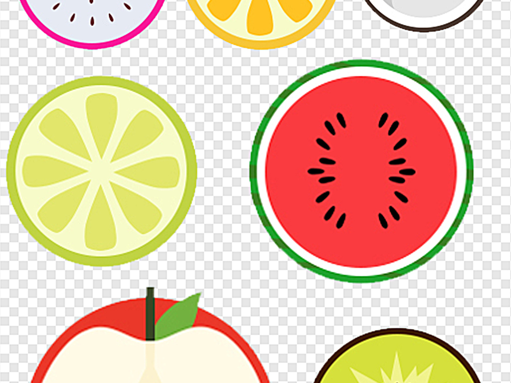 png)橙子切面卡通西瓜橫切面水果切面圖標