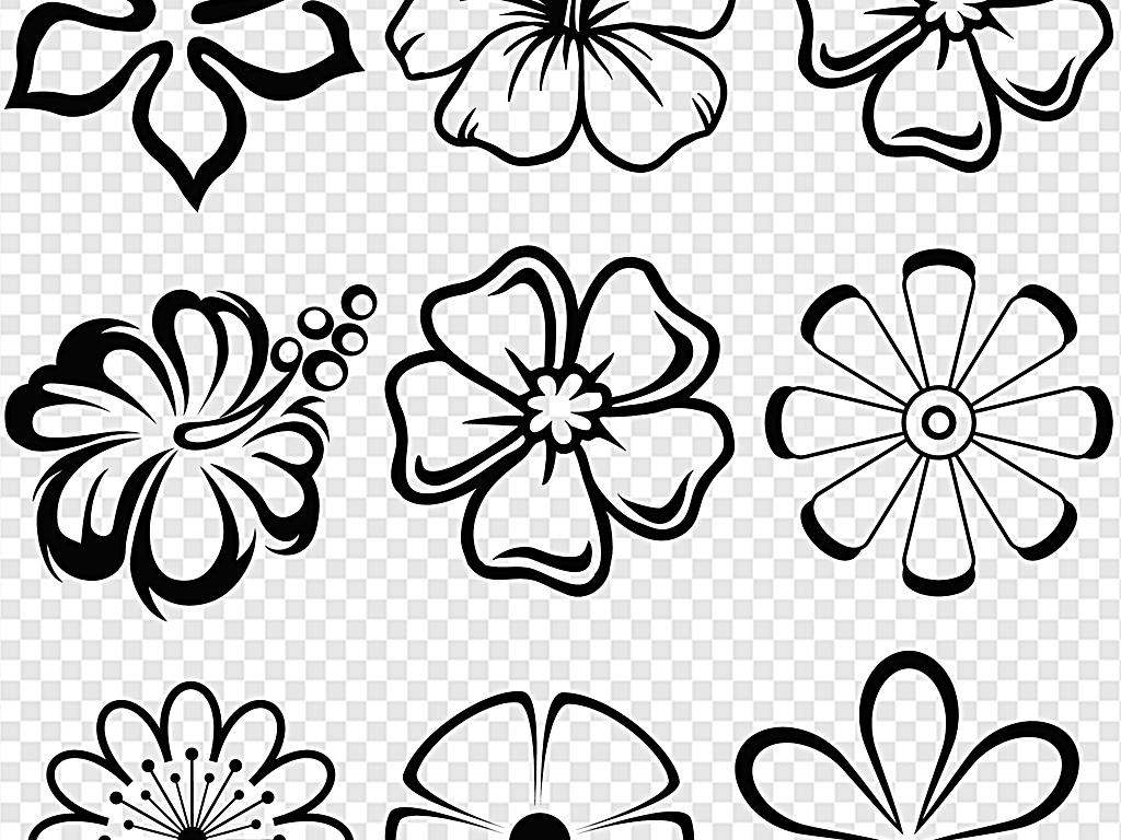黑色手绘扁平化花黑色花纹