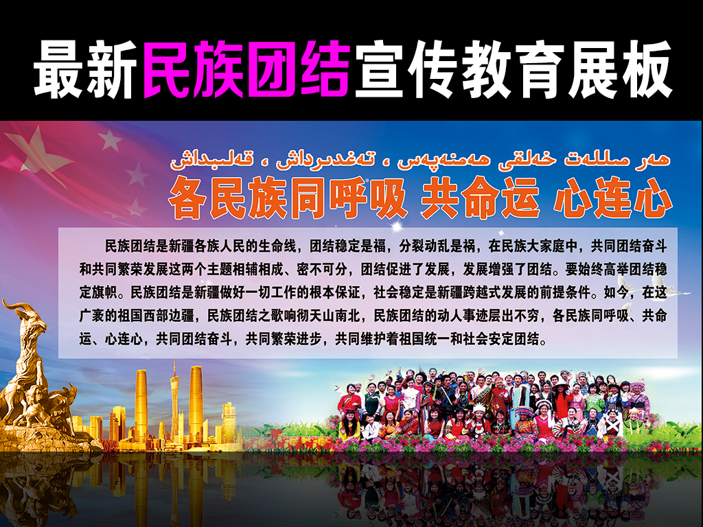 民族团结进步年教育月宣传展板同呼吸共命运