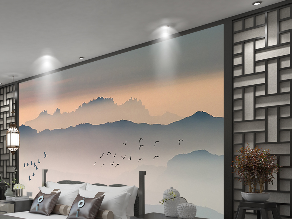 新中式云雾山峦飞鸟日出电视沙发背景墙图片