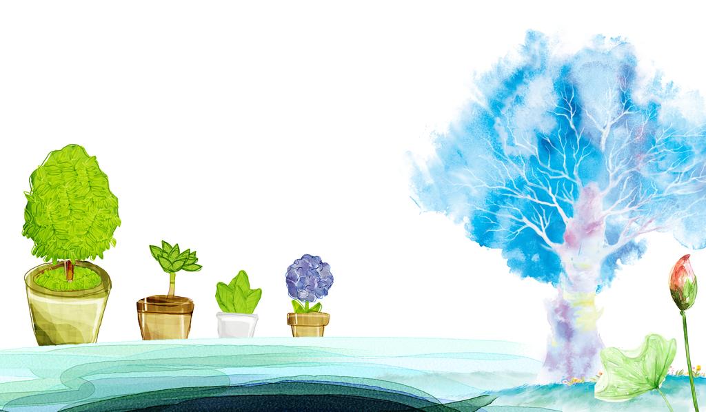 水彩抽象画简易画水墨画抽象树水彩儿童背景
