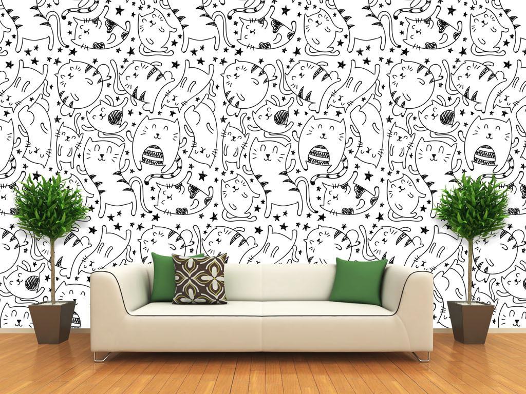 黑白线描手绘可爱猫图案背景墙