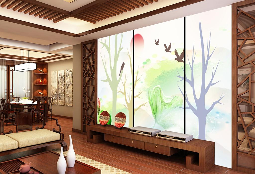 新中式水墨水彩画儿童背景幼儿园玄关画彩雕图片