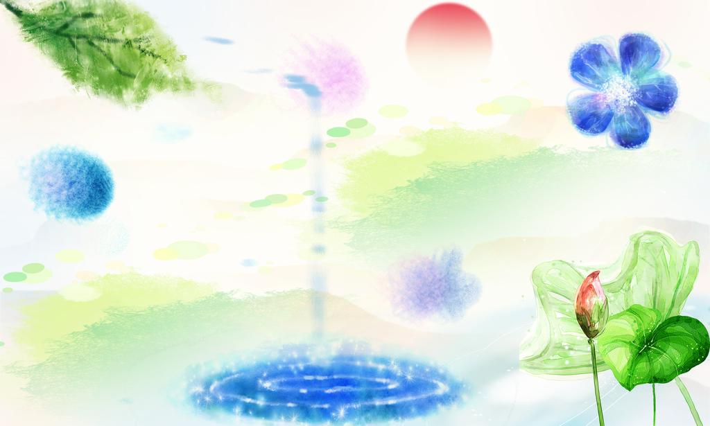 节约用水简约中式画节约水彩画关爱环境节约图片