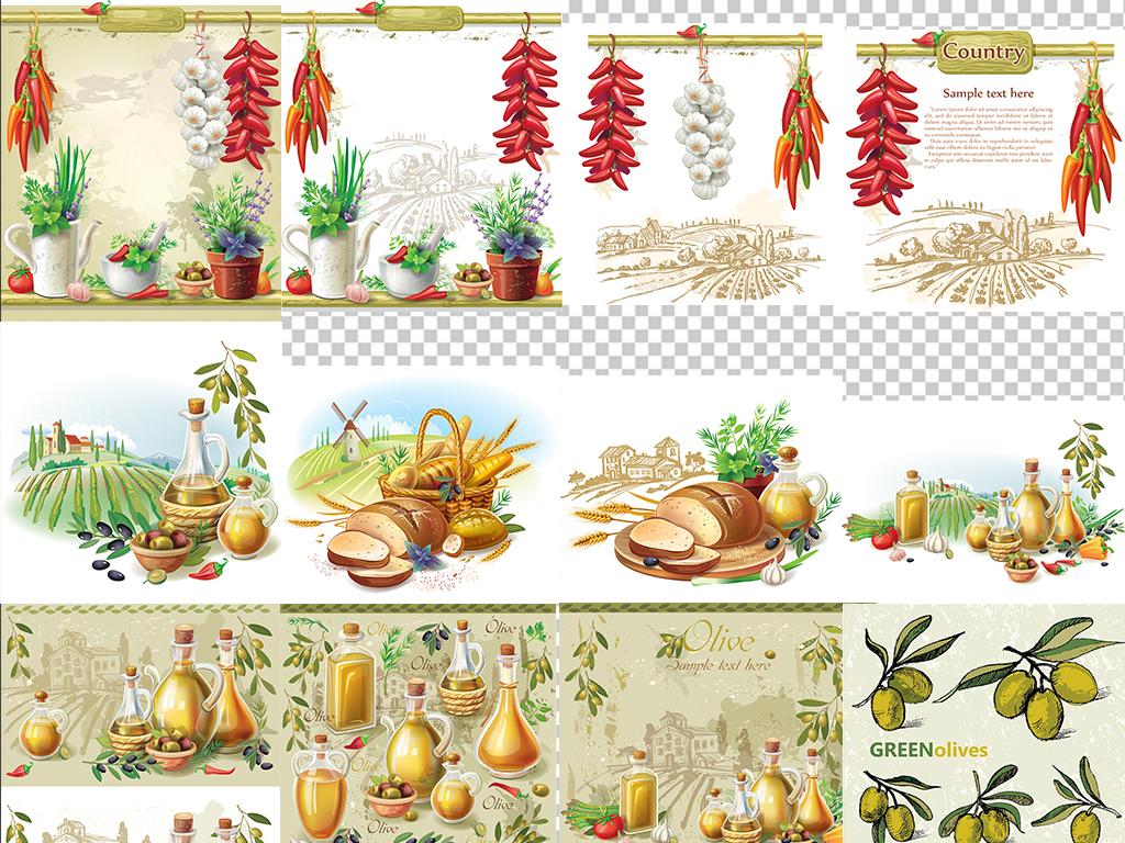 手绘橄榄油面包葡萄辣椒大蒜西红柿花盆素材