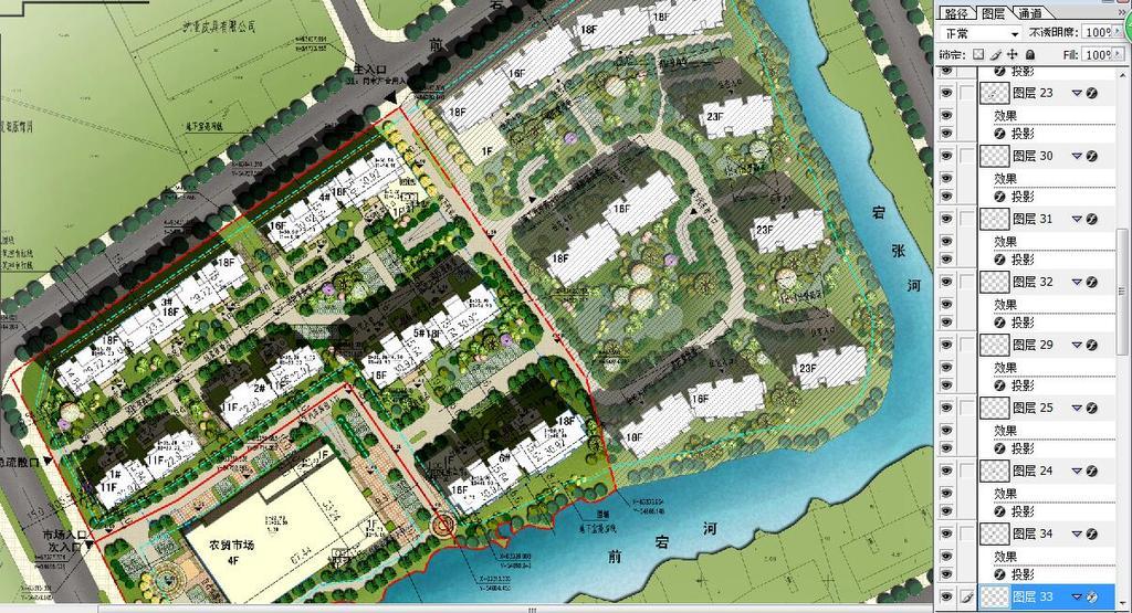 高档住宅小区景观规划psd分层彩色平面图