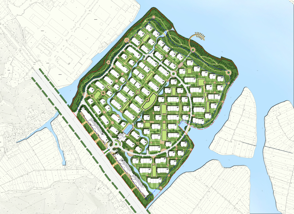 高档小区景观建筑规划psd分层彩色平面图