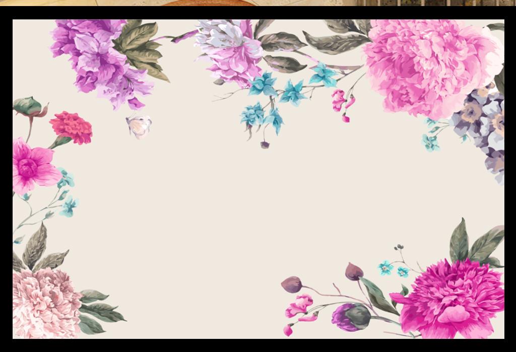 水彩手绘牡丹花背景墙