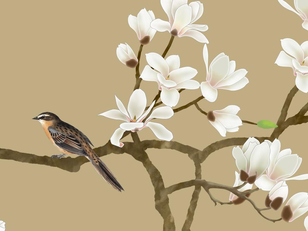 新中式手绘花鸟图玉兰花工笔电视背景墙