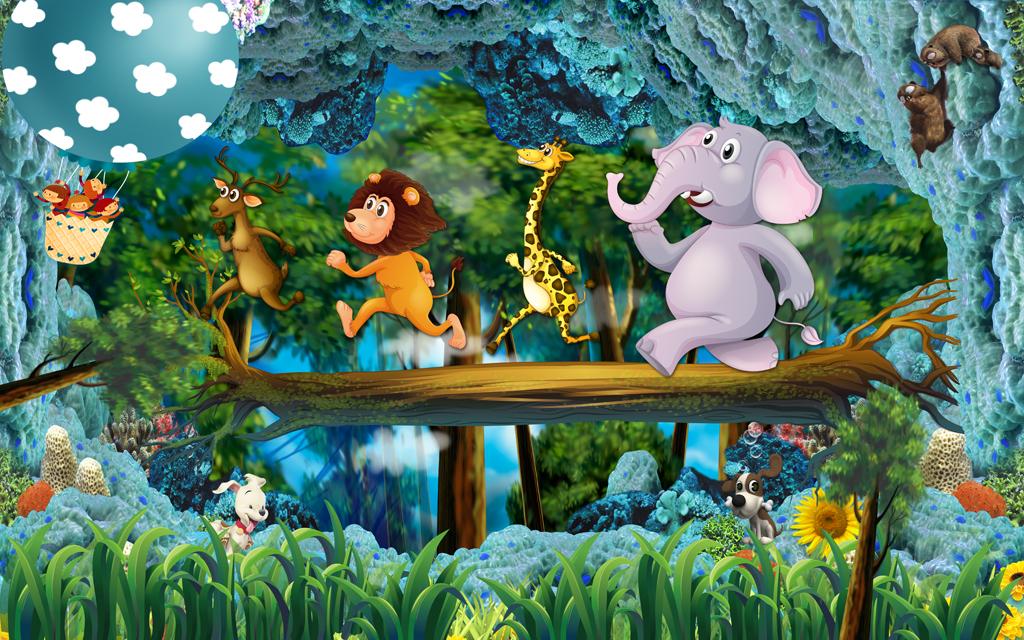 动物总动员梦幻森林卡通儿童房小孩房壁画