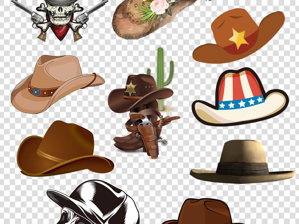 卡通手绘牛仔帽png海报素材