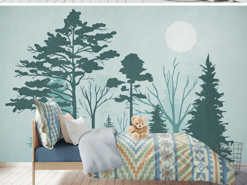 背景墙|装饰画 电视背景墙 手绘电视背景墙 > 北欧森林麋鹿简约背景墙图片