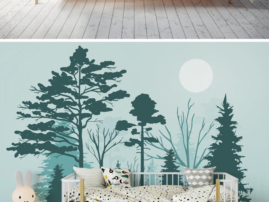 北欧森林麋鹿简约背景墙