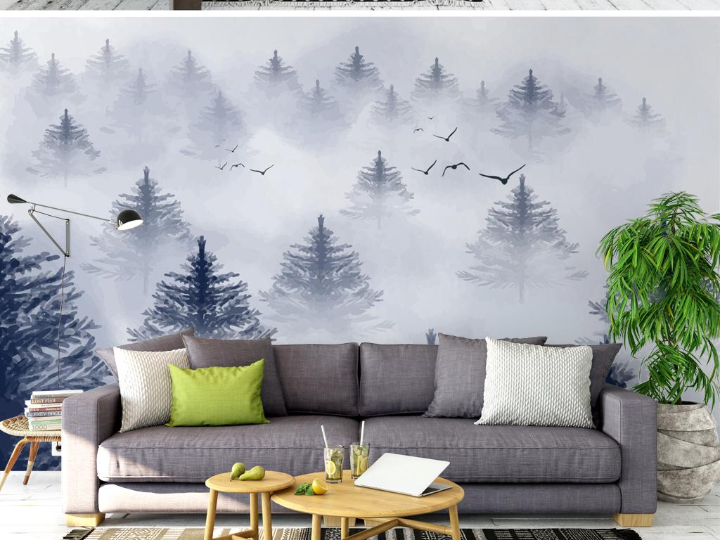 梦幻迷雾森林意境飞鸟北欧背景墙图片