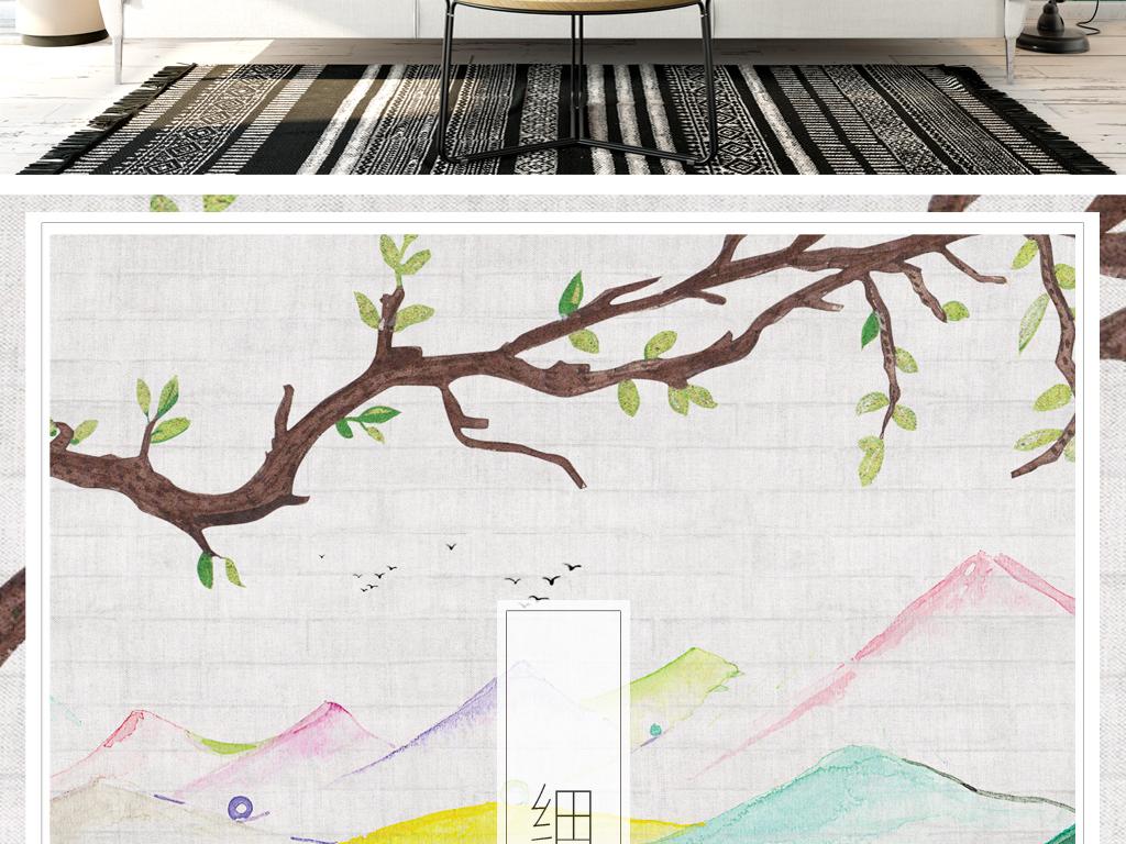 背景墙|装饰画 电视背景墙 手绘电视背景墙 > 北欧清新山水水彩背景墙