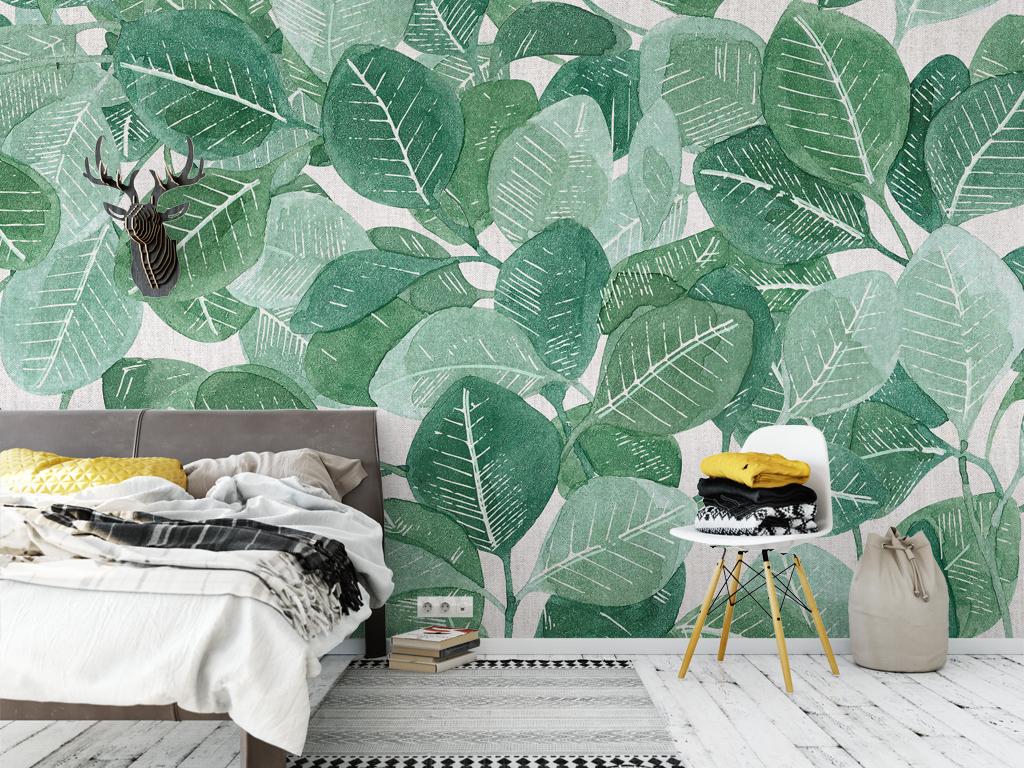 北欧清新热带雨淋沙发背景墙叶子树叶图片