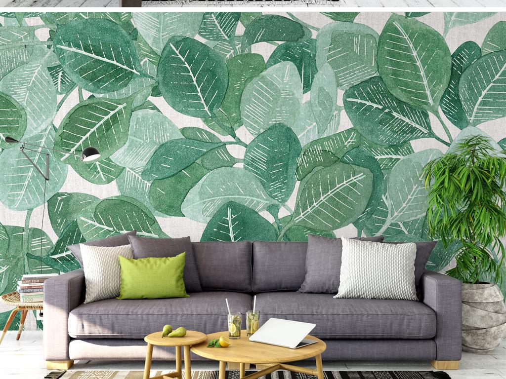电视背景墙 手绘电视背景墙 > 北欧清新热带雨淋沙发背景墙叶子树叶