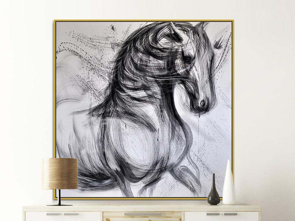 黑白手绘骏马艺术绘画装饰画