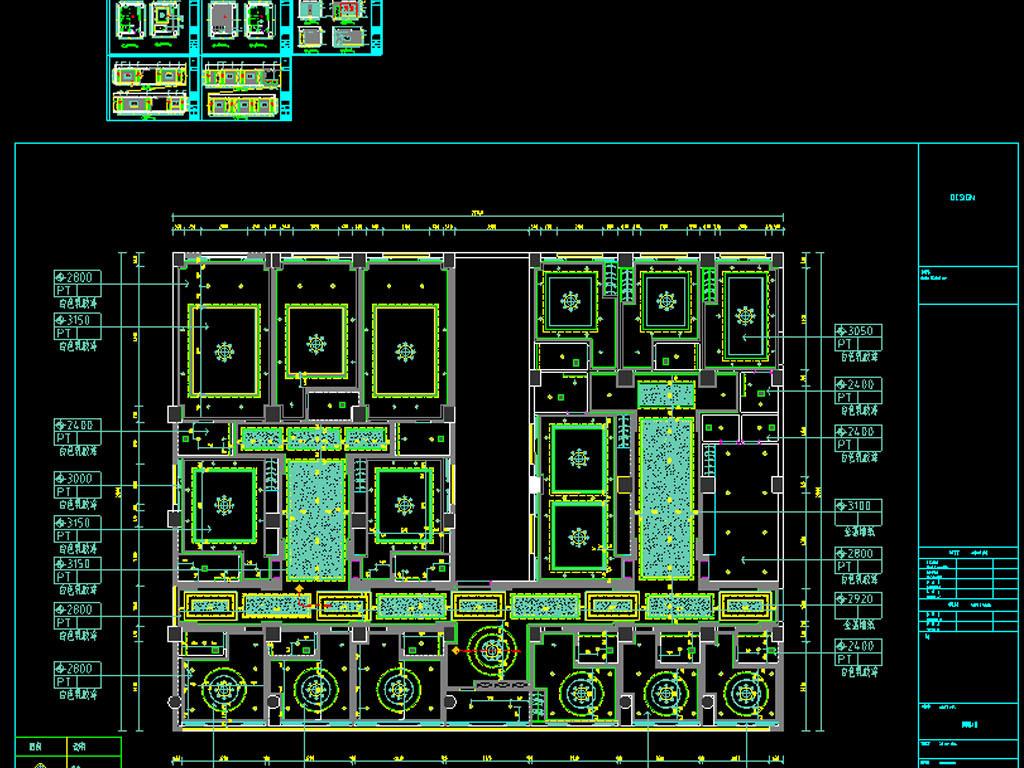 茶楼CAD平面装修图附效果图平面设计图下载 图片5.67MB CAD图纸图片