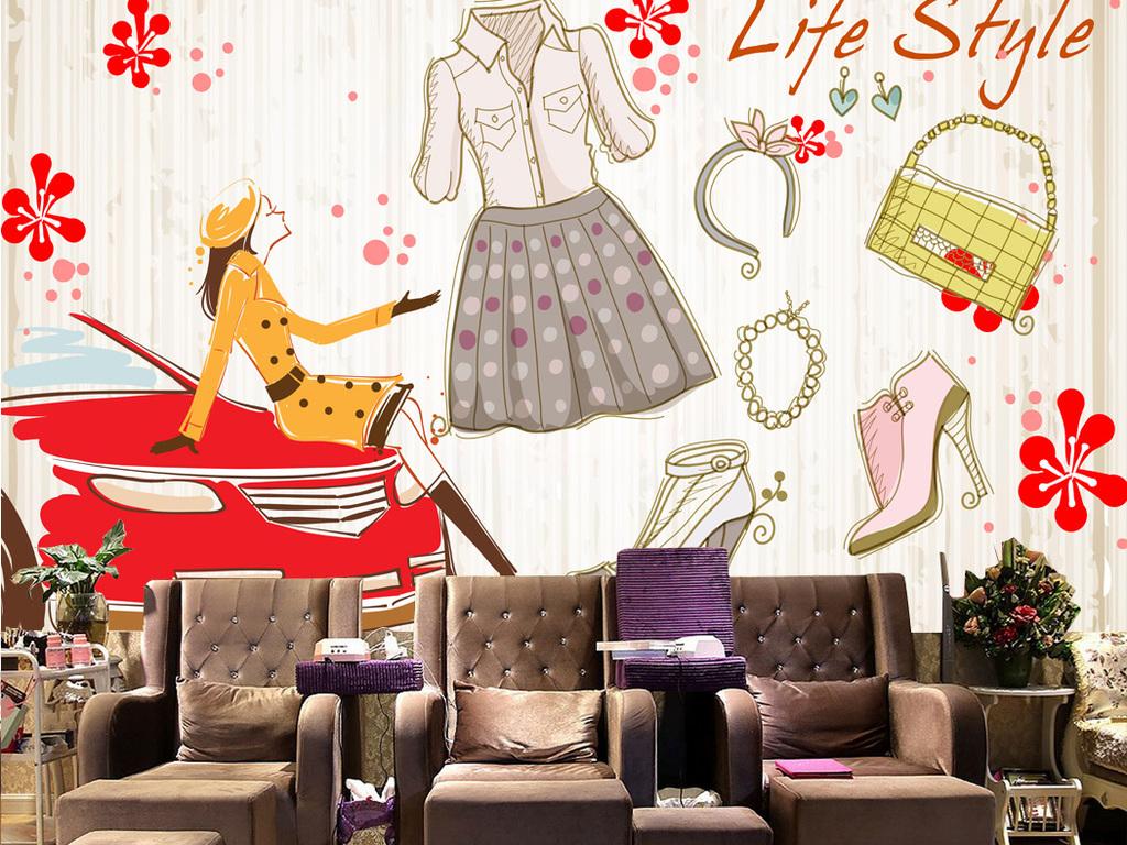 时尚手绘美女服饰服装店背景墙装饰画壁画