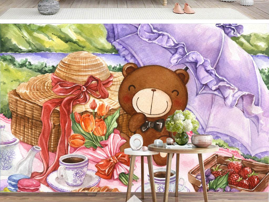 卡通手绘创意时尚野餐的小熊熊背景墙装饰画