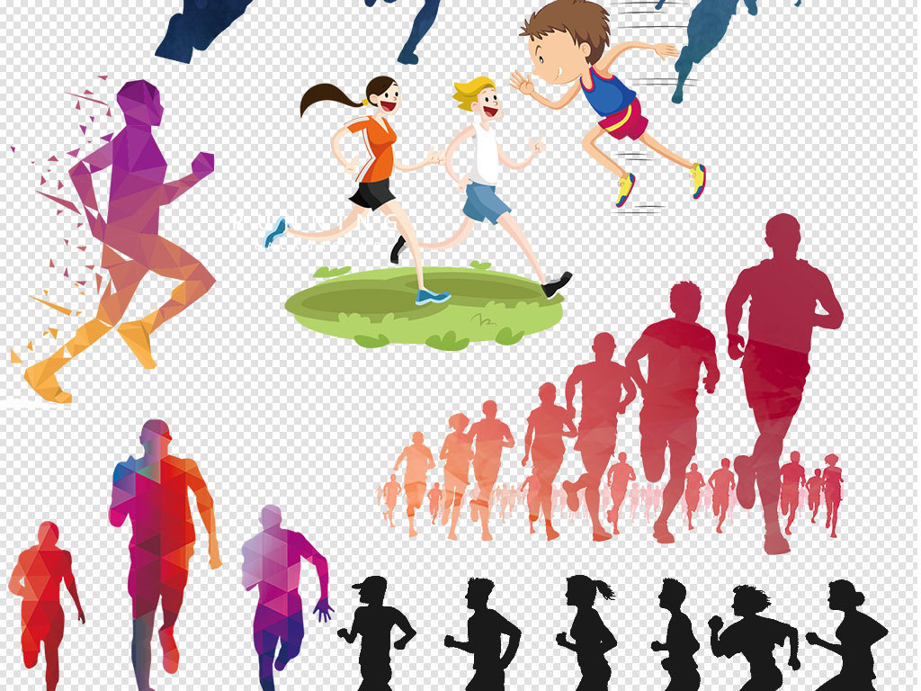 2018奔跑吧艺术字标题设计元素卡通人物