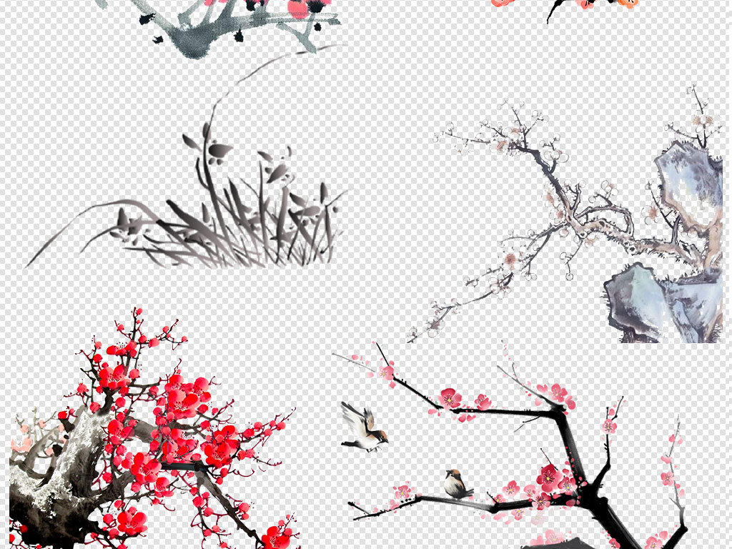 水墨花餐饮透明免扣梅花png素材中国风武侠浪漫桃花桃花矢量图江南图片
