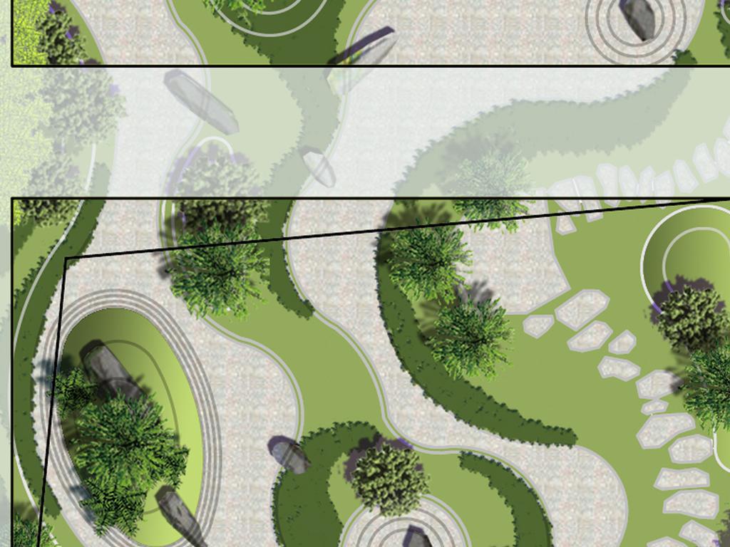 3个中式屋顶花园设计方案景观平面图图片