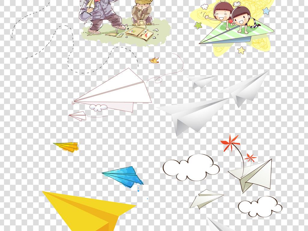 卡通手绘纸飞机png海报素材