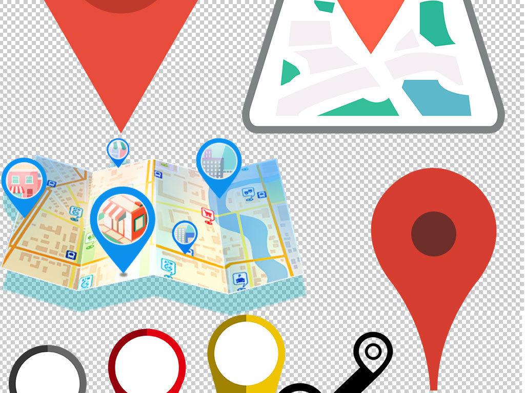 彩色卡通地图导航地标矢量素材