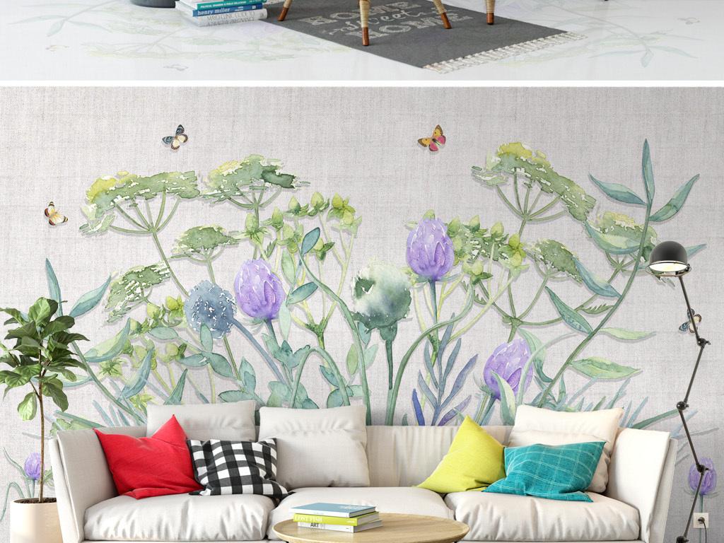 植物花卉北欧蝴蝶田园清新背景墙手绘
