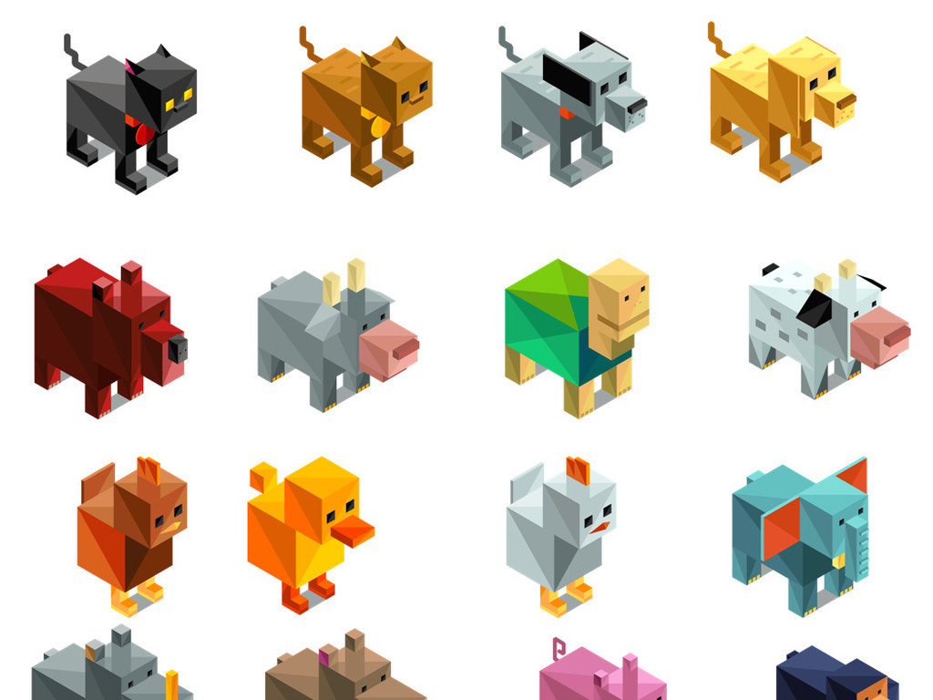 设计作品简介: 几何立体动物设计免抠素材