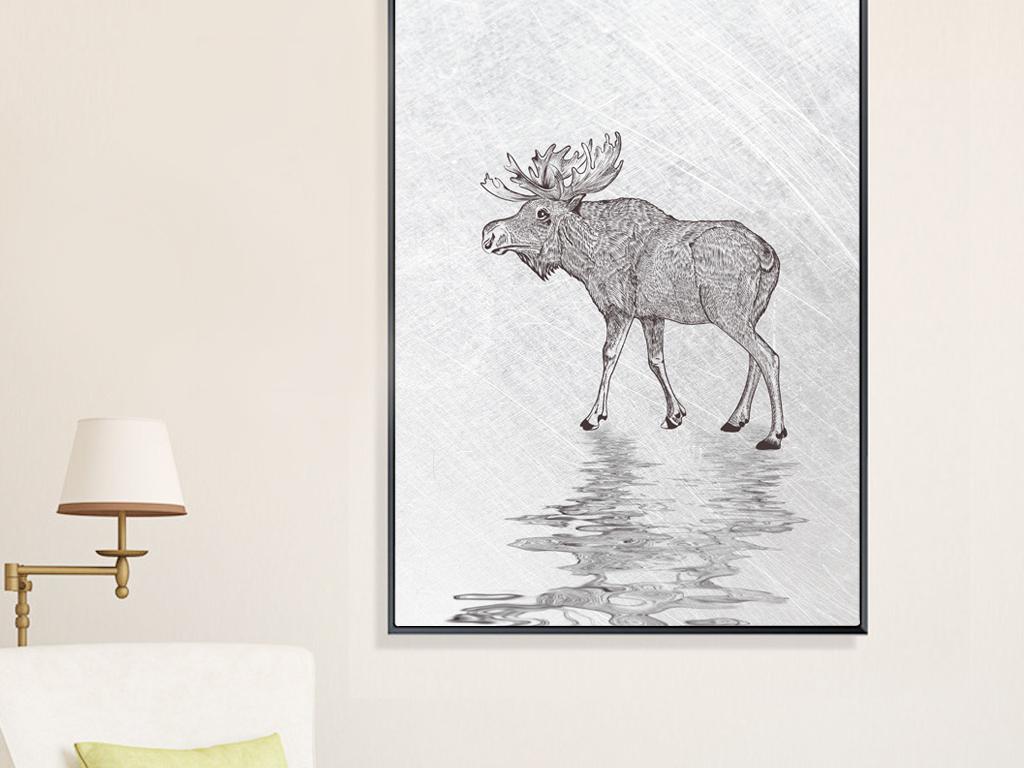 北欧简约手绘线条麋鹿倒影装饰画无框画