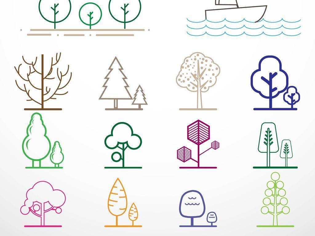 免抠元素 花纹边框 卡通手绘边框 > 线条城市树木矢量图标图形  素材