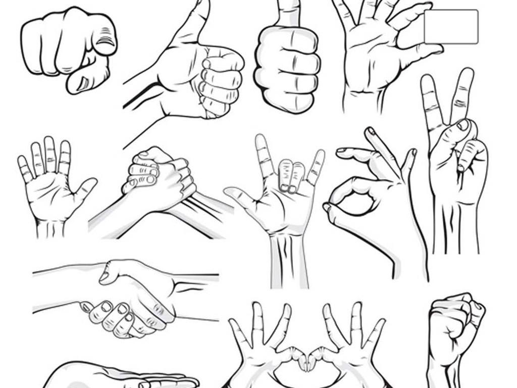 人物手势手指捂手矢量图