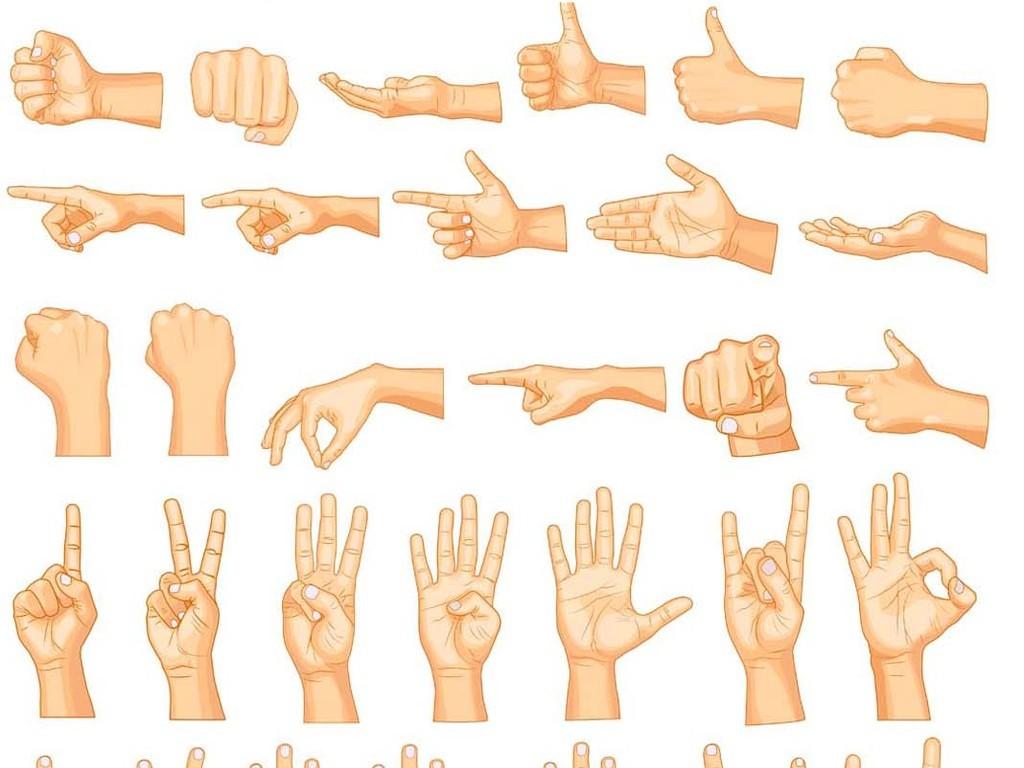 人物手势手型举手人物动作手势各种手势击掌ok手势