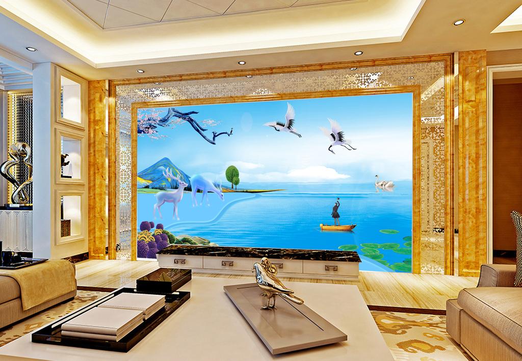 水墨山水新中式风景手绘国画沙发背景墙风景