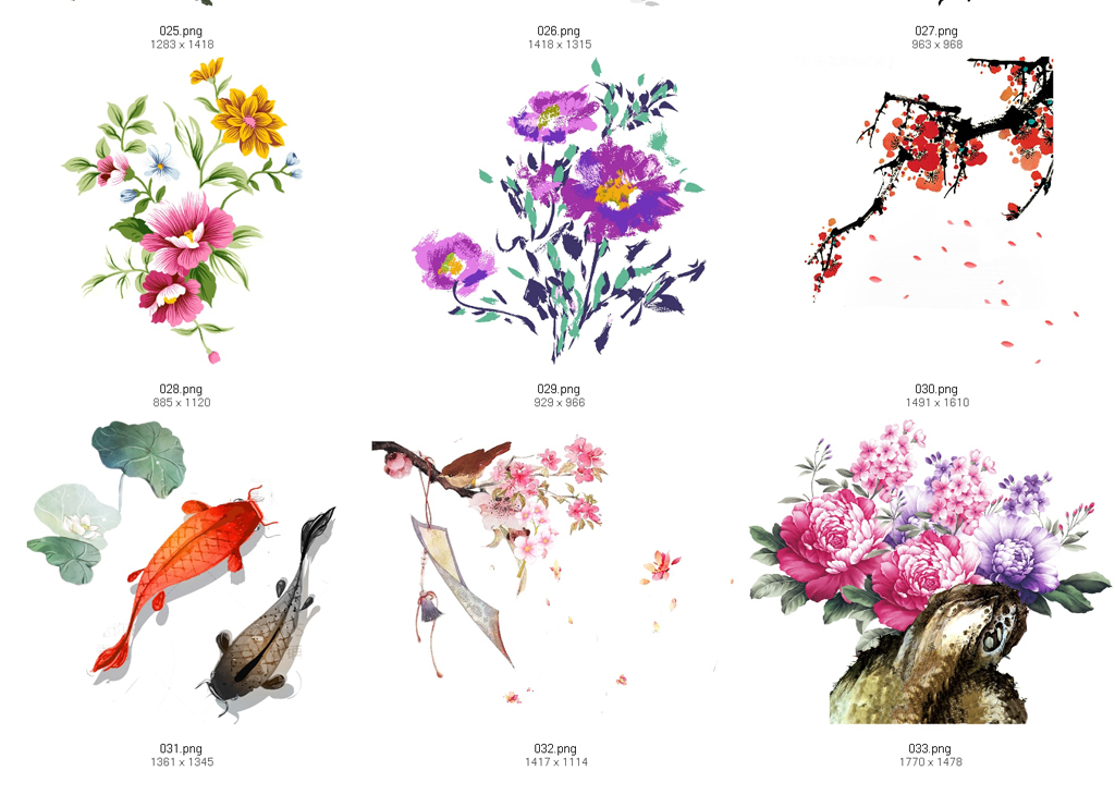 植物插画设计线稿手绘水墨叶子线稿花卉小清新花卉国画古典艺术中国风