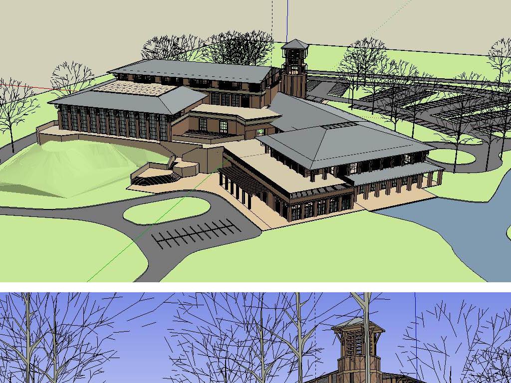 游客俱乐部建筑草图su模型含cad平面图和渲染效果图毕业设计作业