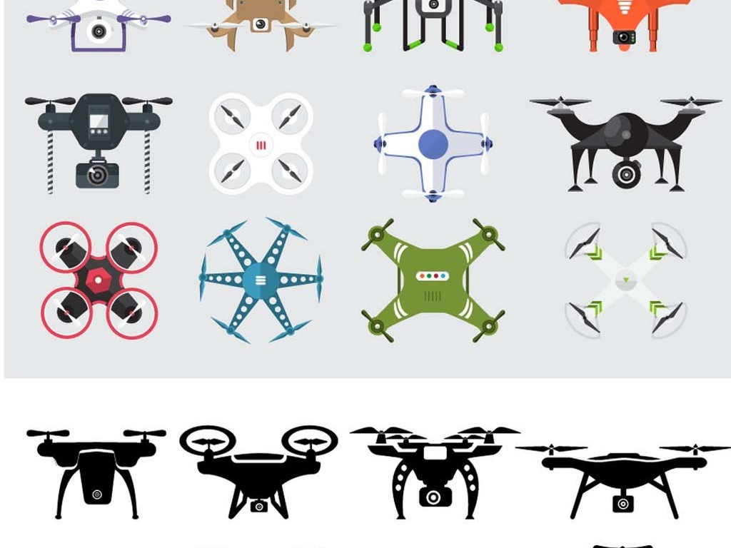 扁平化飞机卡通图标飞行飞机遥控器无人飞机通讯科技科技素材无人机图