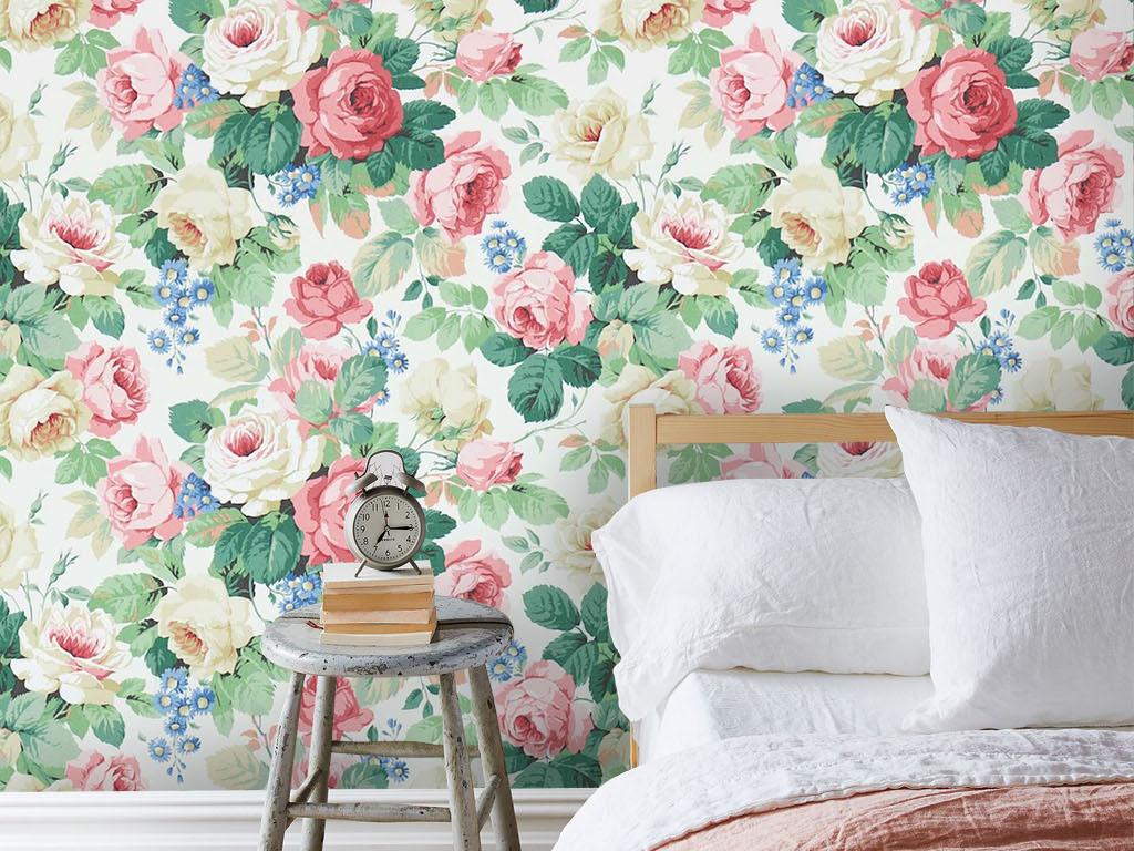 欧式复古手绘月季玫瑰花卉墙纸壁画背景墙