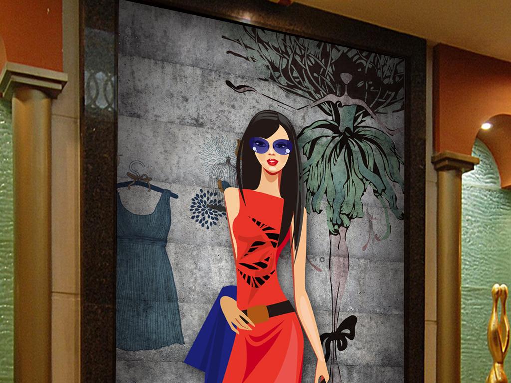 3d手绘美女服装店模特工装玄关